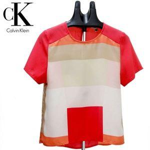 C K Multi-Color Pink Tones Chiffon Casual BlouseXS